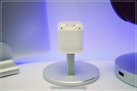 AirPods Charging Case standing on iphone charger