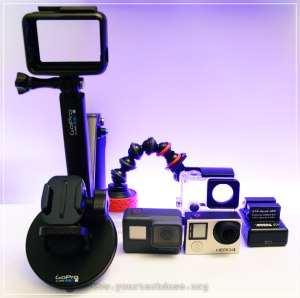 Best GoPro Accessories with suction mount, selfie stick and battery charger