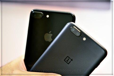 Jet Black iPhone 7 Plus and OnePlus 5 Camera comparison