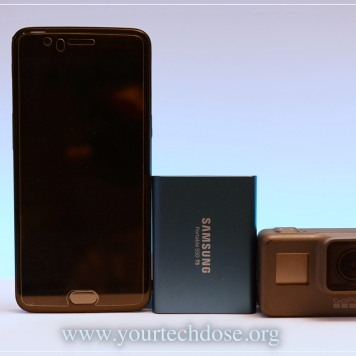 Samsung T5 SSD Size comparison with iphone and gopro